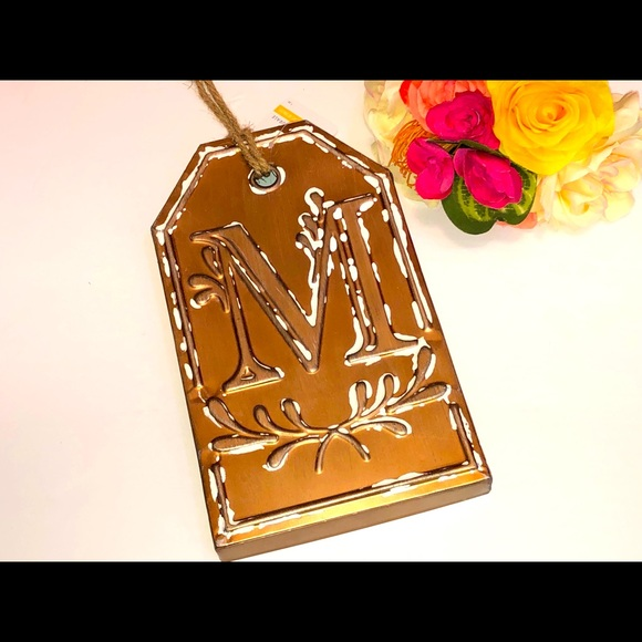 Bronze M Wall Art , Large M Golden Bronze Wall Tag